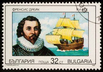 Sir Francis Drake on postage stamp
