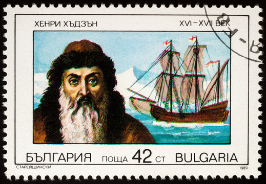 Captain Henry Hudson and his ship Half Moon on postage stamp