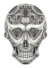 Art Design Sugar Skull Day of the dead. Hand pencil drawing on paper.