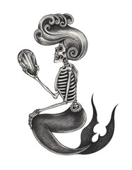 Art Design Mermaid Skull. Hand pencil drawing on paper.