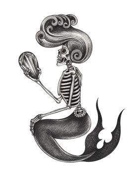 Art Design Mermaid Skull. Hand pencil drawing on paper.