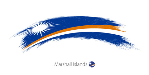 Flag of Marshall Islands in rounded grunge brush stroke.
