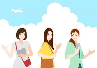 旅行 女性たち イラスト