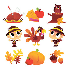 Cartoon Thanksgiving Fall Set