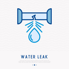 Water leak from pipe thin line icon. Modern vector illustration of damaged pipe.