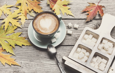 Autumn cappuccino coffee cup on rustic wood background