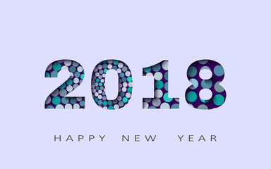 happy new year, abstract design 3d,2018 vector illustration