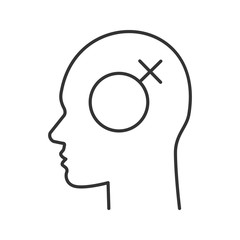 Human head with female symbol inside linear icon