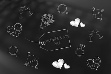 valentines day symbols and price tag with Sales caption