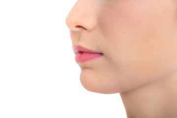 Closeup Shot of Woman lip on white background. Woman with Beauty Concept, Isolated on White Background.