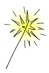 doodle hand drawn vector burning christmas sparkler