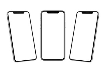 Multiple smart phones with x curved screen in front, left and right side position.