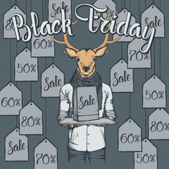 Vector illustration of deer on Black Friday