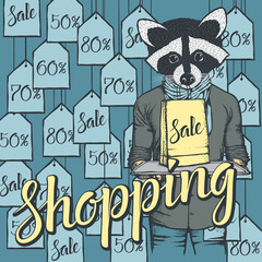 Vector illustration of raccoon on Black Friday