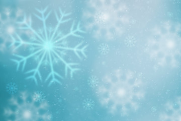 Bright soft blue colored blurry snowflakes illustration copy space background.