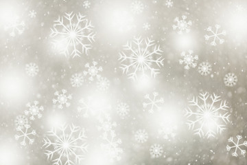 Beautiful bright silver gold colored blurry snowflakes illustration copy space background.