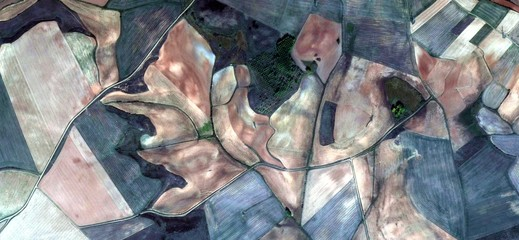 Spain fields from the air which mimic an abstract painting,artistic representation of human labor camps bird's eye view,  abstract photograph surrealism,Abstract Naturalism,abstract expressionism