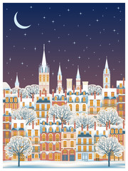 Winter cityscape at night. Can be used as greeting card, invitation card, poster, banner & etc. Handmade drawing vector illustration. Vintage style.