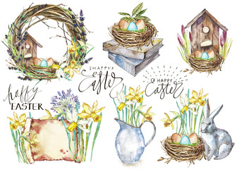 Set Hand drawn watercolor art eggs with Spring flowers. Isolated illustration on white background. Lettering - Happy Easter.