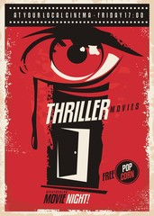 Thriller movies marathon retro poster design idea