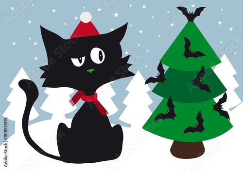 lonely cynical black cat with red scarf and red santa cap celebrating christmas using halloween scary