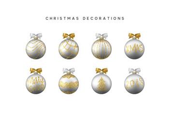 Xmas set balls silver color. Christmas bauble decoration elements,