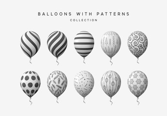Balloons isolated on white background.