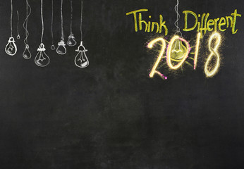 New Year 2018 concepts on blackboard