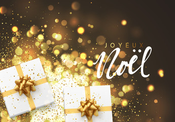 French Joyeux Noel. Christmas background with gift box and golden lights bokeh. Xmas greeting card. Magic holiday poster, banner. Night bright gold light background