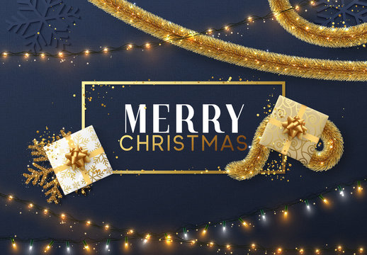 Christmas background with bright composition design