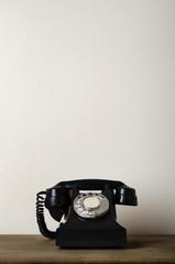 Viintage Black 1940s Telephone on Wood