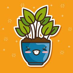 kawaii pot natural plant cartoon vector illustration graphic design