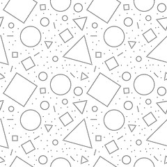 Black and white doted abstract geometric shapes seamless pattern, vector