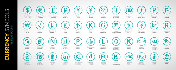 Currency icons vector flat illustration 2