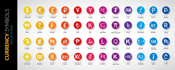 Currency icons vector flat illustration 3