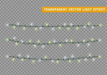 Christmas lights isolated realistic design. Lights garlands color white and green. Glowing Xmas decorations.