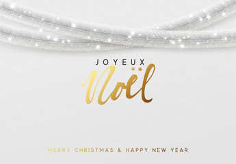 Glowing Christmas background. French text Joyeux Noel. Design traditional Christmas decorations, silver tinsel, bright light garlands. Xmas holiday, vector greeting card