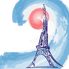 Stylized Eiffel Tower on the French national colors background. Sketch style. EPS8 vector illustration.