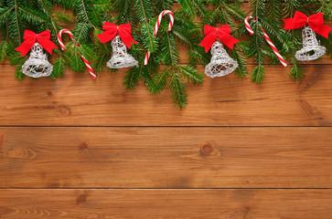 Christmas decoration, ornaments and garland frame background