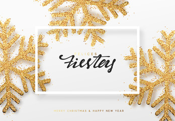 Spanish lettering Felices fiestas y Feliz Navidad. Christmas background with realistic bright snowflakes