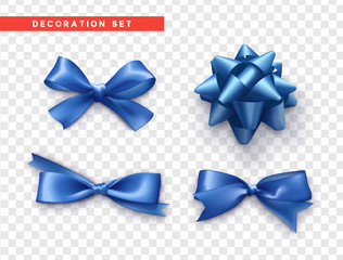 Bows blue realistic design. Isolated gift bows with ribbons.