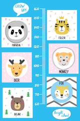 Kids height chart.Cute and funny animals.