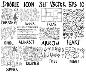 MEGA set of doodles. Super collection of christmas, banner, frame, school, font, arrow, business, speech, summer, love, tree, set eps10