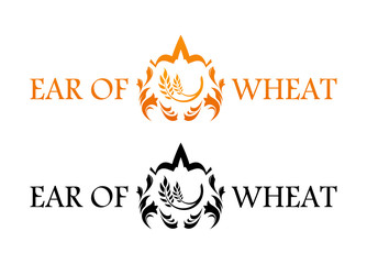 Blazon with Ear of Wheat isolated on white