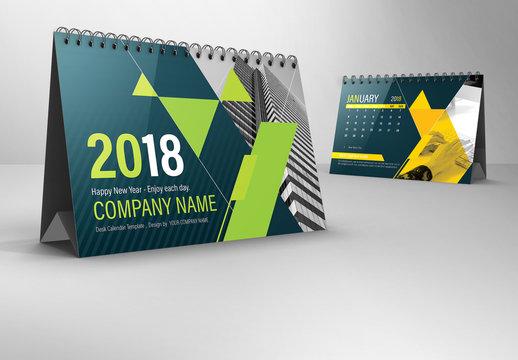 Bright 2018 Desk Calendar Layout