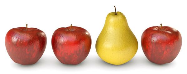 eine gelbe Birne unter roten Äpfel als Freisteller