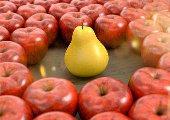 Wall Mural - Eine Birne unter vielen Äpfel