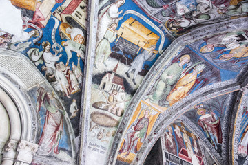 Frescoes in the cloister of the Cathedral of Bressanone - Brixen, a town in South Tyrol in northern Italy
