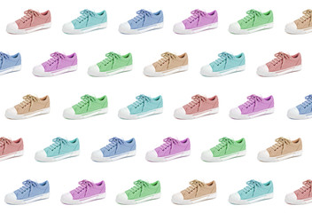 Pair of colorful unisex and kids sport shoes pattern on white background