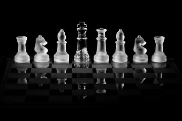 Glass Chess Set with a King of the Opposite Color Hiding in the Row as a Spy or Double Agent